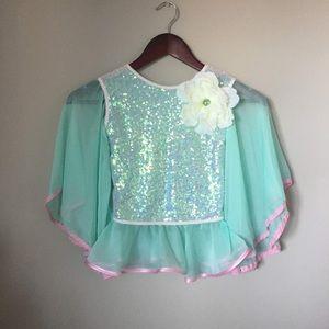 CUSTOM MADE Dress top green mint flower sequins